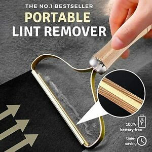 Portable Lint Remover,  lint roller Clothes Fuzz Shaver with Long Wooden Handle
