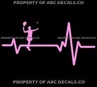 VRS Heart Beat Line TENNIS SERVING Girl Racket Racquet Ball CAR VINYL DECAL