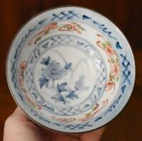 ANTIQUE JAPANESE IMARI ARITA PORCELAIN HAND PAINTED FLORAL BLU WHT RED RICE BOWL