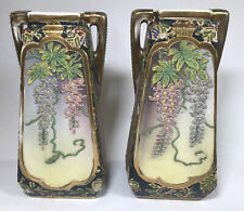 More details for large pair vintage miyako nippon ware vases hand painted twin handled vases