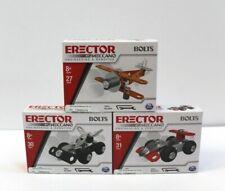 Lot of 3 Erector by Meccano Bolts Construction Kit Mini Car, Biplane & Race Car