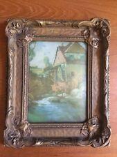 Antique Rectangular Reverse Painting Water Wheel Convex Glass Gold Framed Art