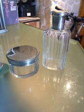 Ensemble Flacon + Pot En Cristal Taillé Argent Massif Poincon Minerve
