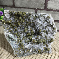NATURAL Calcite Grow with chalcopyrite Crystal Cluster Specimen 974g
