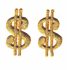 SET OF 2 DOLLAR SIGNS-GOLD METALLIC-MONEY-GAMBLING/Iron On Embroidered Patch