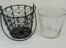 Wire Basket Glass Insert Candle Holder Planter Hanging Primitive Rustic New