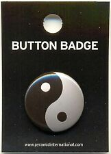 Ying Yang Chinese Symbol 25mm Button Badge Pin Carded