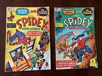 SPIDEY SUPER STORIES #1 and #2 ORIGIN OF SPIDER-MAN RETOLD 1974