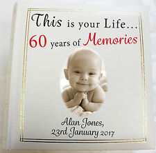 Personalised Photo Album,Memory/Guest Book, 60th Birthday,This Is Your Life Gift