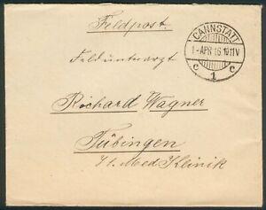 Deutsche Feldpost Brief an Richard Wagner, Cannstadt 1.Apr. 1916 nach Tübingen