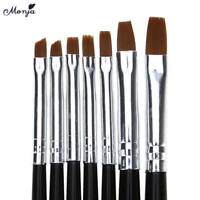 7X/set Nude Pink Color Gel Polish UV Gel Nail Art Brush Painting Pen Kit