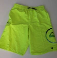 Quiksilver Big Boys L Board Swim Trunks Shorts Mesh Lined Neon Yellow Logo