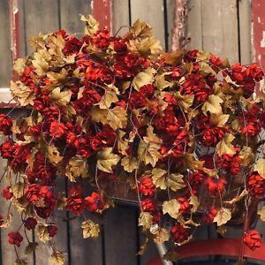 "NEW!! Primitive Country Farmhouse Autumn RED HOPS STEM 39"" Floral Stems Decor"