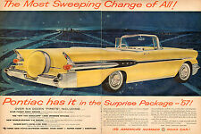 1956 Classic Car AD New '57 PONTIAC STARCHIEF CONVERTABLE Yellow NICE !  121115