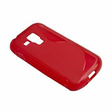 Gel TPU Rubber Silicone Skin Case Cover Fits For Samsung S Duos S7562 - Red