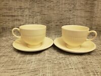 Set of 2 Wedgwood Queen's Ware Edme Cream Footed Cup & Saucer