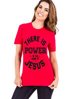 LIVING WATER WOMEN'S RED t-SHIRT POWER IN THE NAME OF JESUS religious clothing