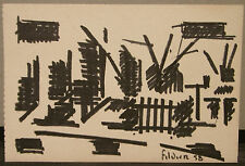 "Dessin Original Feutre André FILDIER (1928-2001)  "" Village paysage "" - F27"