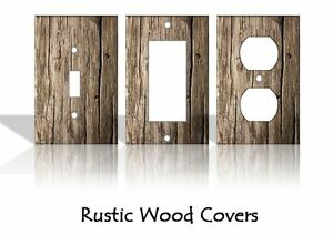 Rustic Wood Pattern Light Switch Covers Home Decor Outlet - MADE FROM PLASTIC