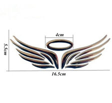 Silver 3D Car Logos Tail Sticker Guardian Angel Wings Reflective Graphics-Decal