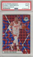 Russell Westbrook 2019-20 Panini Mosaic Reactive Blue Prizm #134 PSA 9