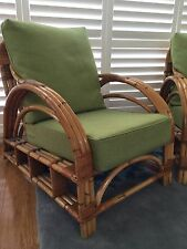 Large Vintage antique Cane Bamboo chair With Cushions