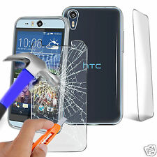 Ultra Durevole chiaro TPU GEL SKIN CASE COVER & VETRO PER HTC DESIRE 530