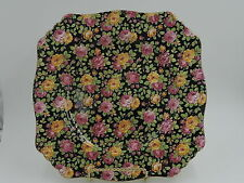 "Vintage Royal Winton Chintz Beeston 9"" Square Plate Pink Roses"