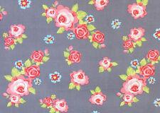 "57"" Large Gris/Rose Rose Tissu Coton Robe Vintage Shabby Chic Robe Rockabilly"
