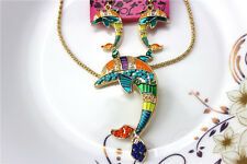 New Betsey Johnson jewelry sets Enamel dolphin pendant earrings necklaces YY809