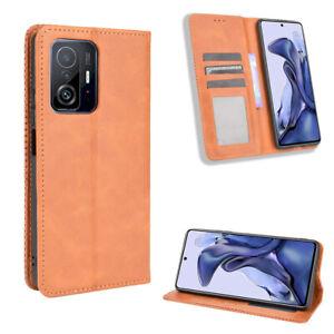 For Xiaomi Mi 11/11T Pro Wallet Purse Card Holder Retro PU Leather Case Cover