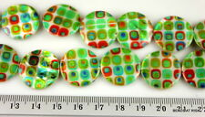 GR026 Green printed round flat shell beads - 37g  1 strand 20pce - 20mm
