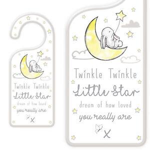 New Baby Door Hanging Plaque with Wording - Twinkle Little Star