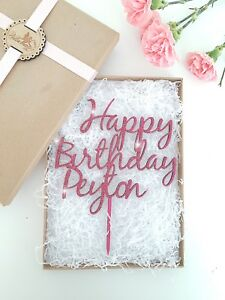 Personalised Happy Birthday Cake Topper, Wooden Cake Topper, Glitter Cake Topper