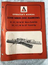 Allis Chalmers 2300 Series Disc Harrows Non Fold Upfold Up Operators Manual