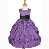 TAFFETA PURPLE FLOWER GIRL DRESS WEDDING BRIDESMAID PAGEANT 12M 2 2T 3T 4 6 8 10