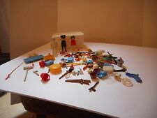 Vintage Playmobil Lg Lot of Accessories Guns, Fishing Pole, Fish, Dishes & More