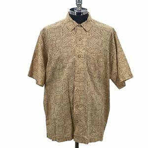 Eddie Bauer Shirt Button Front Linen Blend Brown Beige Collared Men's Size XLT