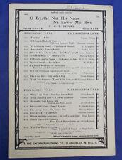 Vintage sheet music NA ENWER MO HWN O Breathe Not His Name choral Irish Welsh