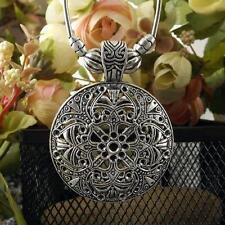 Hot Vintage Tibetan Silver Flower Round Shield Pendant Choker Bohemian Necklace