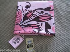NWT! Juicy Couture ALVA Cotton Scarf, Pink/Brown/Multi
