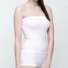 Hot Sexy Basic Layering Stretch Plain Strapless Tube Top Seamless Sleeveless Tee