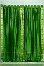 Forest Green  Tab Top  Sheer Sari Curtain / Drape / Panel  - Piece