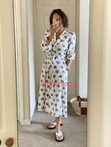 Zara Printed White Midi Poplin Dress Size M New 2021