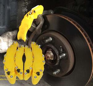 4Pcs Car Disc Brake Caliper Covers Universal Yellow Front & Rear Guard Protector
