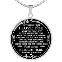 To My Daughter Love Dad Round Necklace Pendant Father Daughter Gifts I Love You