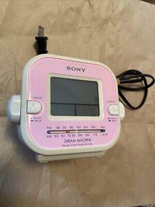 Sony Dream Machine FM/AM Clock Radio ICF-C180 Dual Alarm LCD Digital Pink EUC