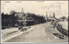 DRESDEN Sachsen um 1925 Tram Fuhrwerke Schiffe Partie am Terassenufer d. Elbe