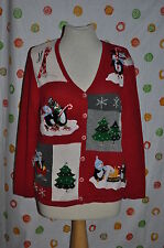 Small  UGLY WHITE STAG  RED CHRISTMAS SWEATER PENGUIN beads snowflake  PARTY