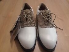 DUNLOP M4800C - Size 7.5  LEATHER CAMEL WHITE CLEATED GOLF SHOES - SADDLE SHOES